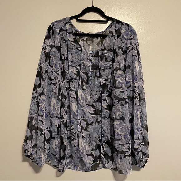 SHEER BLUE FLORAL BLOUSE